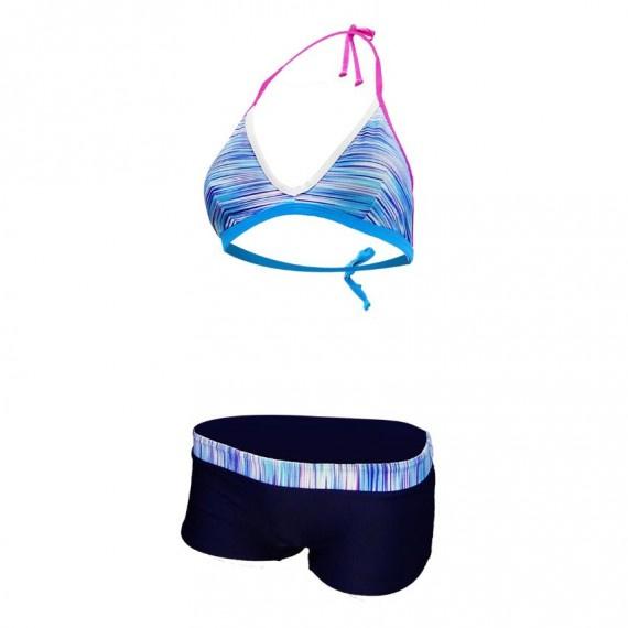 比堅尼泳裝連透氣外衣 - 黑/淺藍