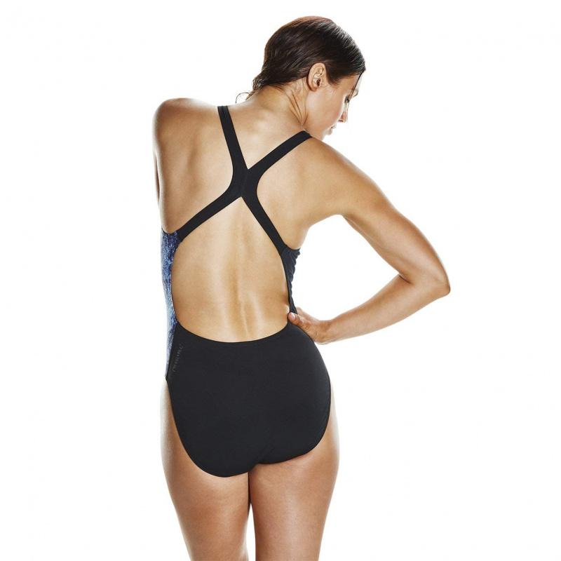 女子高效抗氯連身泳衣 - 黑/藍