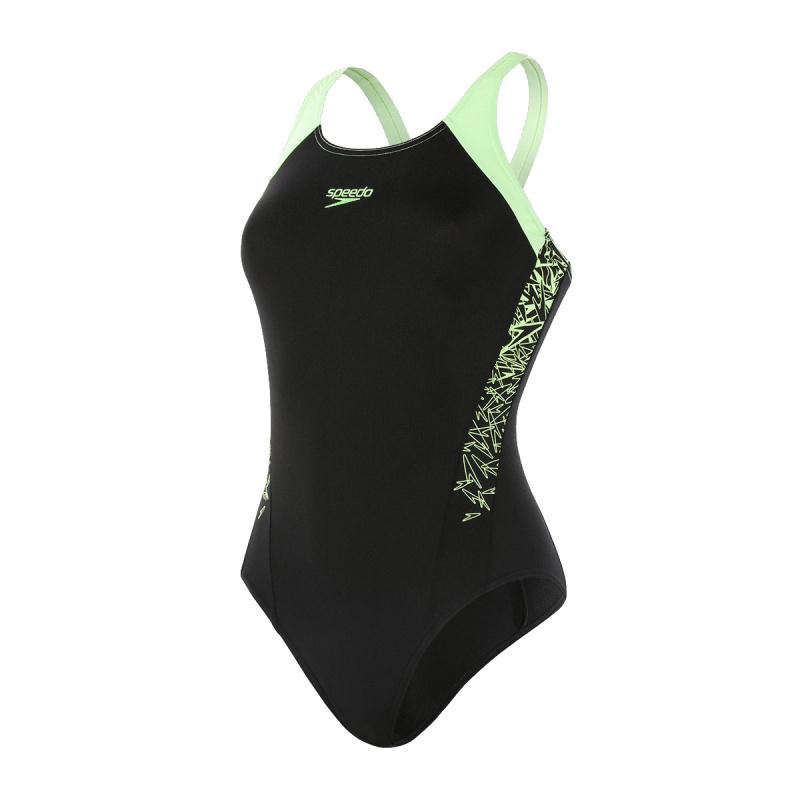 女子經典印花連身泳衣 - 黑/綠