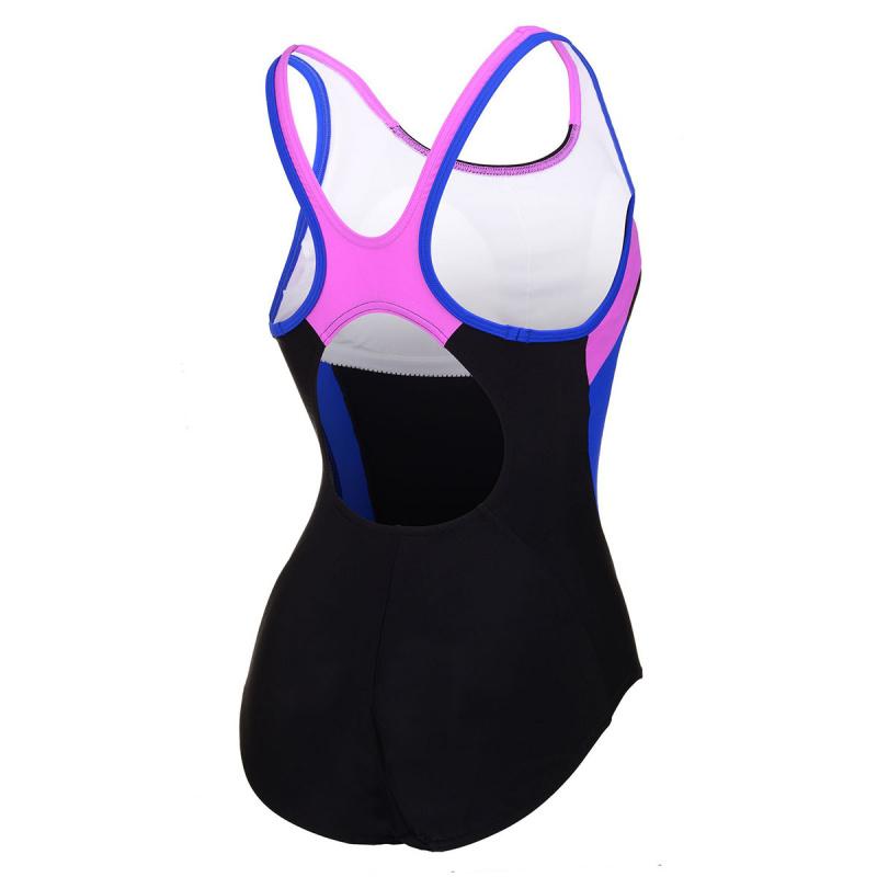 女子時尚動感連身泳衣 - 黑/粉紅