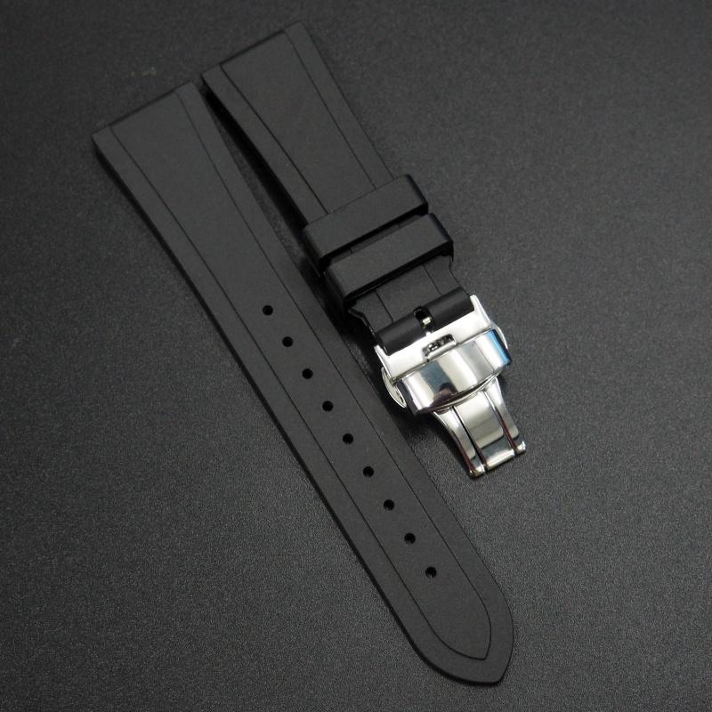 22mm 黑色 Tudor 代用橡膠錶帶配摺扣