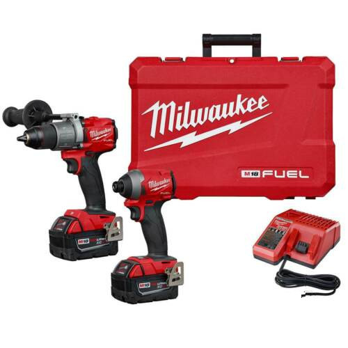 Milwaukee M18 FUEL 18V 2997-22 鋰離子無刷無繩電鎚鑽和衝擊起子組合套件(2件),帶有兩個5Ah電池