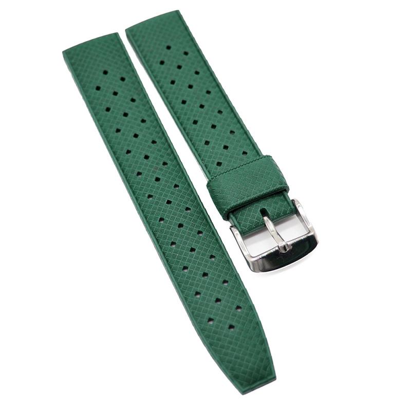 20mm, 22mm 軍綠色復古橡膠錶帶