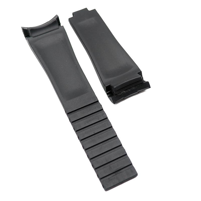20mm Rolex 黑色 Curved Ends 代用膠帶