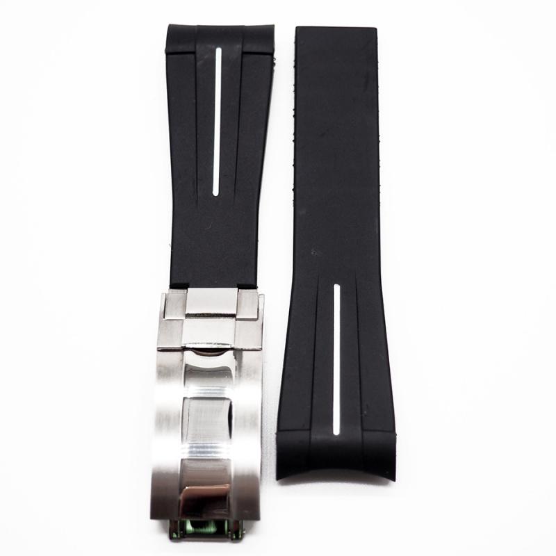 20mm Rolex 黑色 / 白線 Curved Ends 代用膠帶
