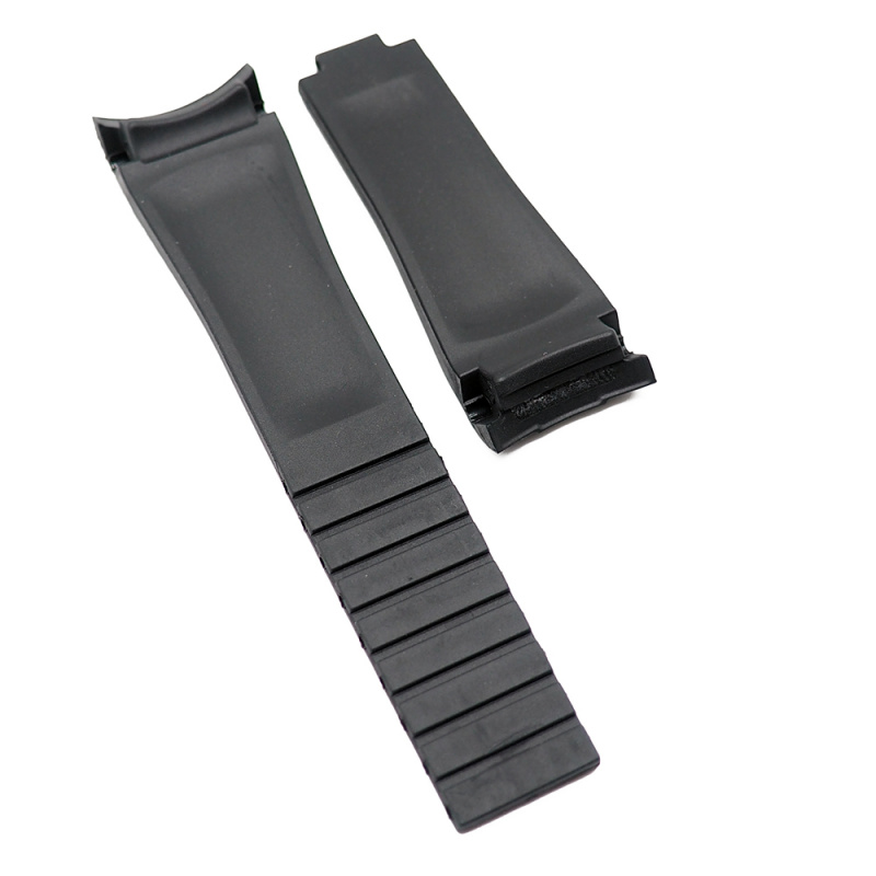 20mm Rolex 黑色 / 藍線 Curved Ends 代用膠帶