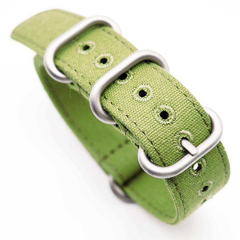 20mm, 22mm 綠色帆布 Nato 錶帶