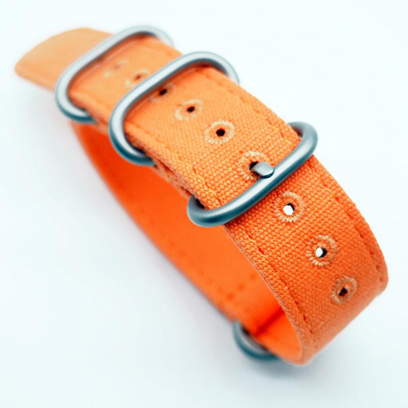 20mm, 22mm 橙色帆布 Nato 錶帶