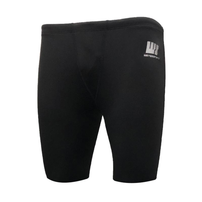 0.5mm 成人抓毛保暖五分泳褲 - 黑