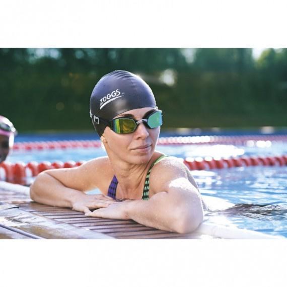 成人創世紀形氣墊鈦鏡面塗層泳鏡 - 黑