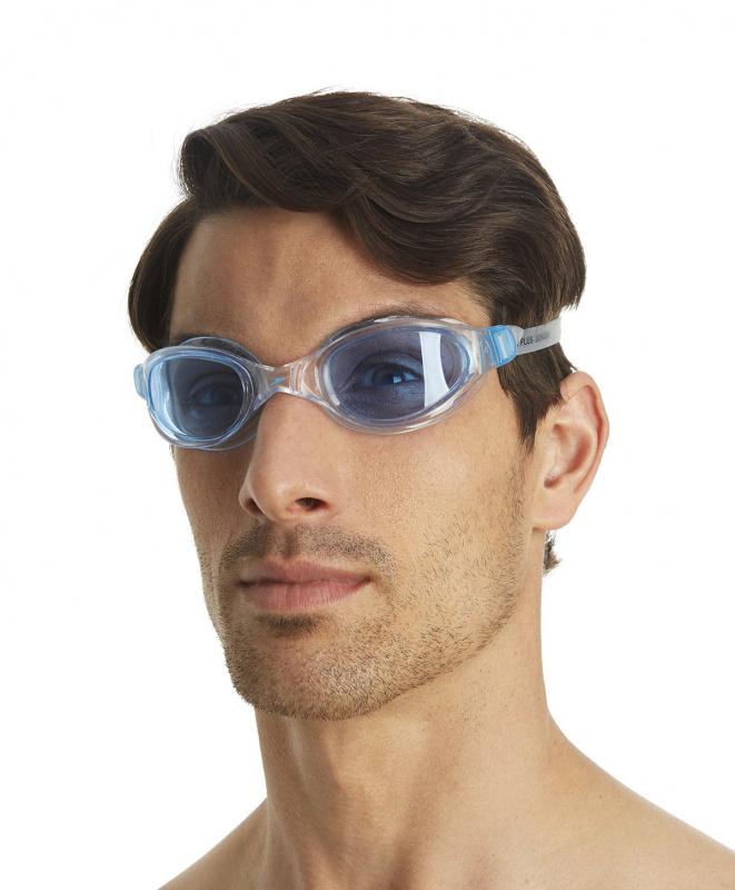 成人柔軟貼合泳鏡 - 透明/藍