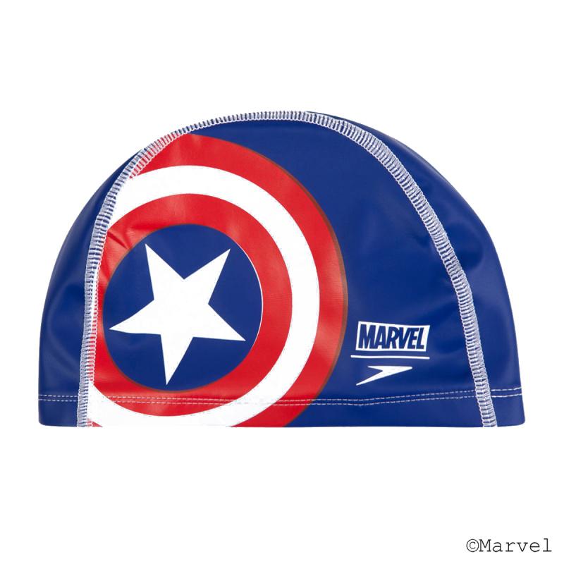 少年美國隊長PU塗層泳帽 - 藍/紅