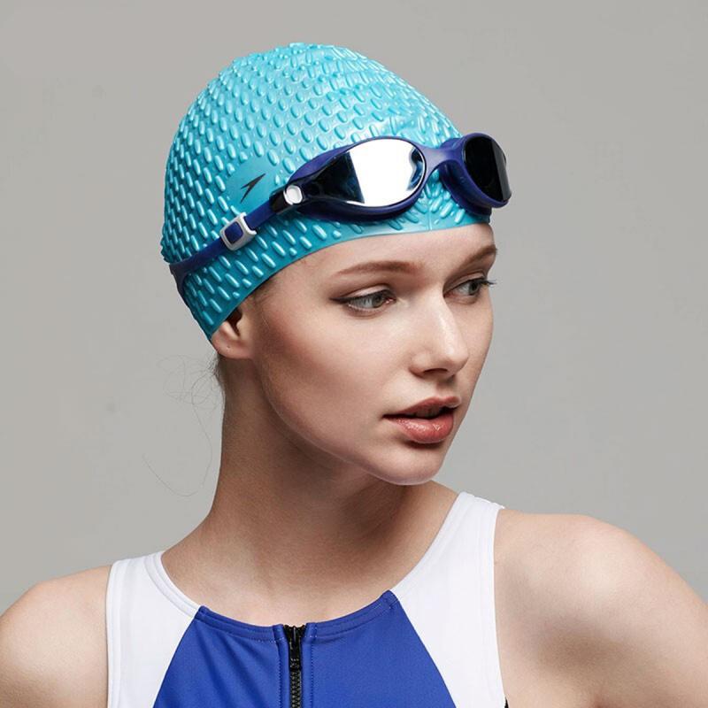 成人泡泡矽膠泳帽 (長髮適用) - 湖水藍