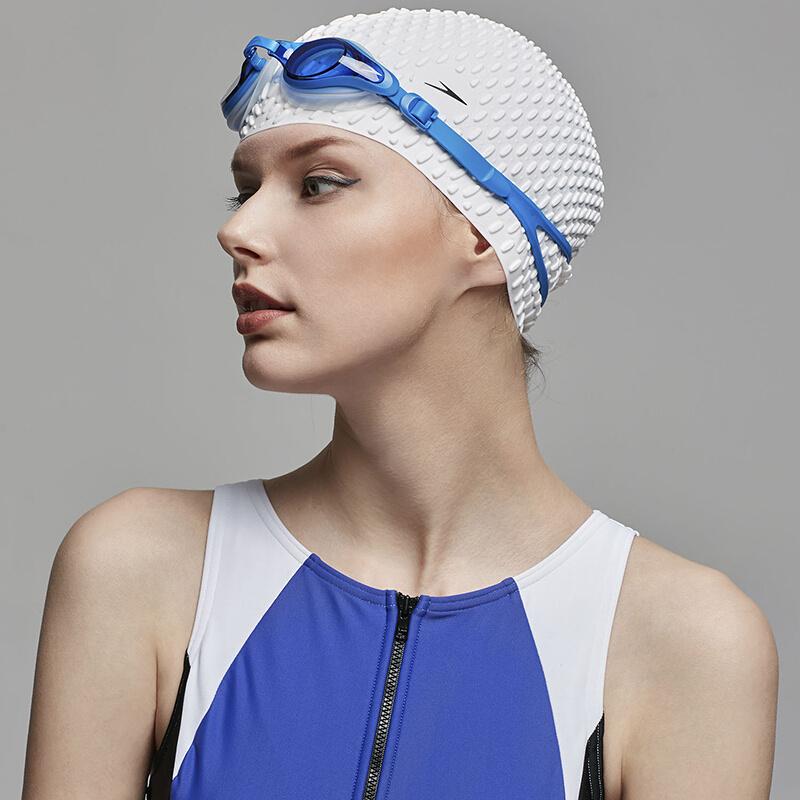 成人泡泡矽膠泳帽 (長髮適用) - 白