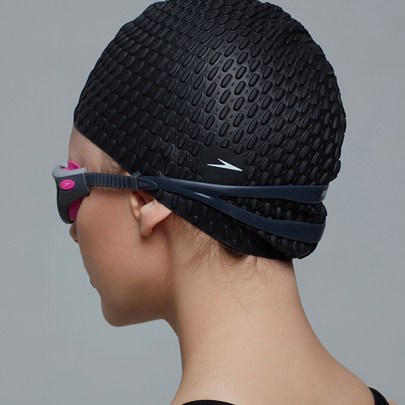 成人泡泡矽膠泳帽 (長髮適用) - 黑