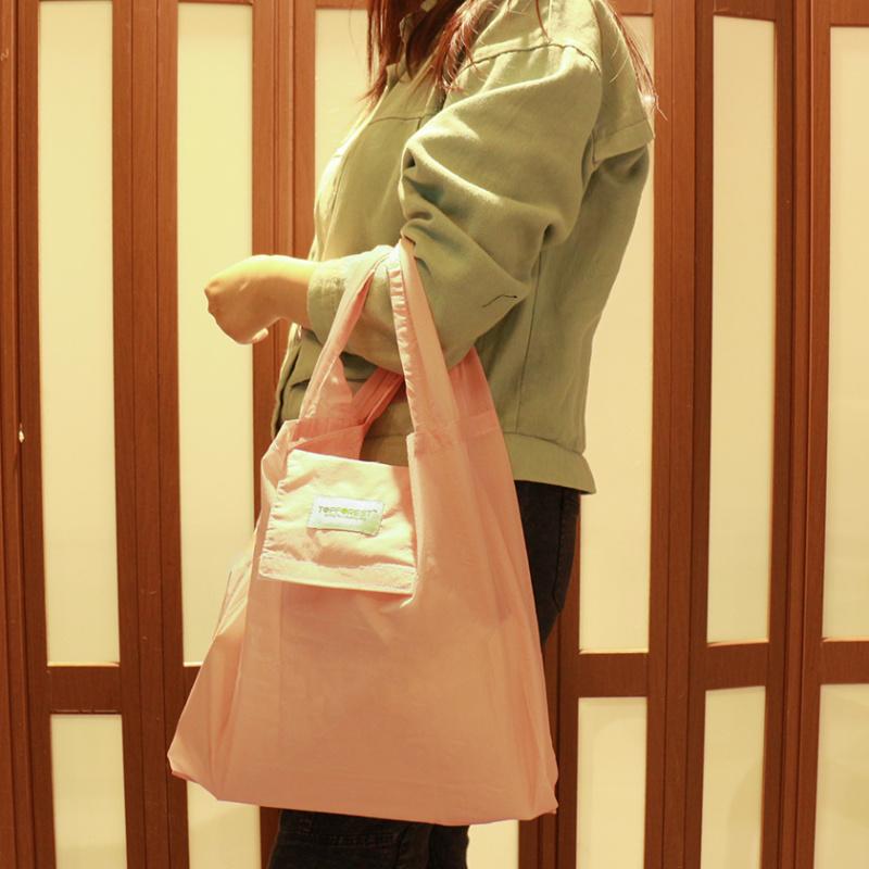 簡易摺疊便攜環保袋 純色嫩粉紅 女士必備 A01017