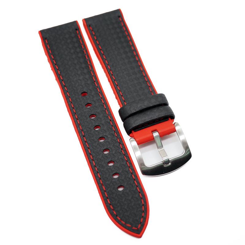 20mm, 22mm 黑色碳纖維紅色膠底運動錶帶