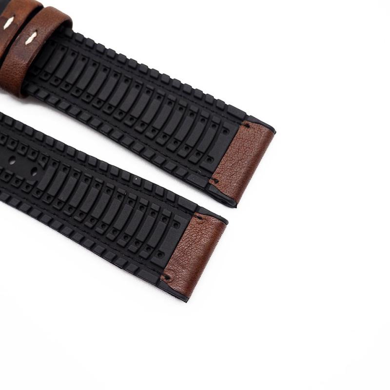 20mm 棕色牛皮橡膠底運動錶帶