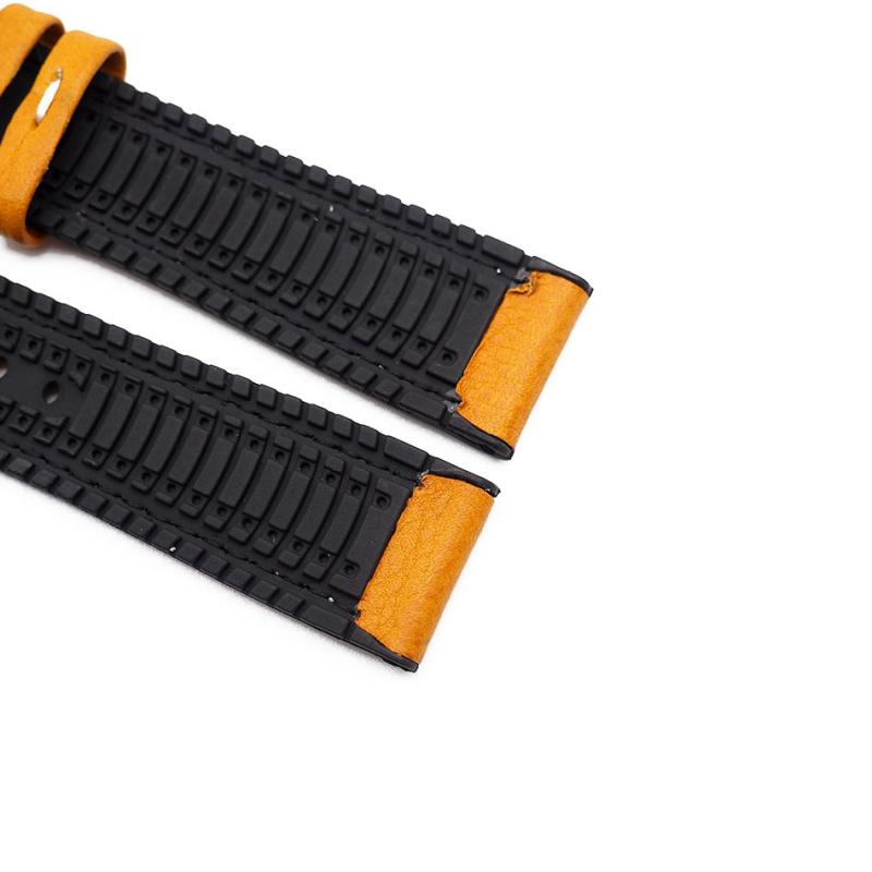 20mm 黃色牛皮橡膠底運動錶帶