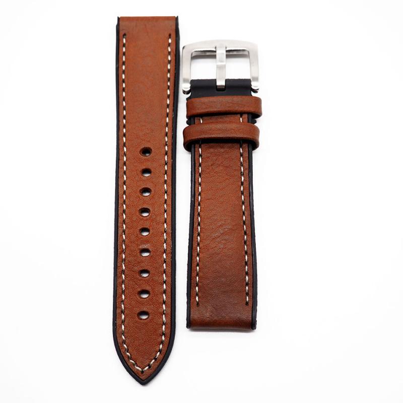 20mm 啡色牛皮橡膠底運動錶帶