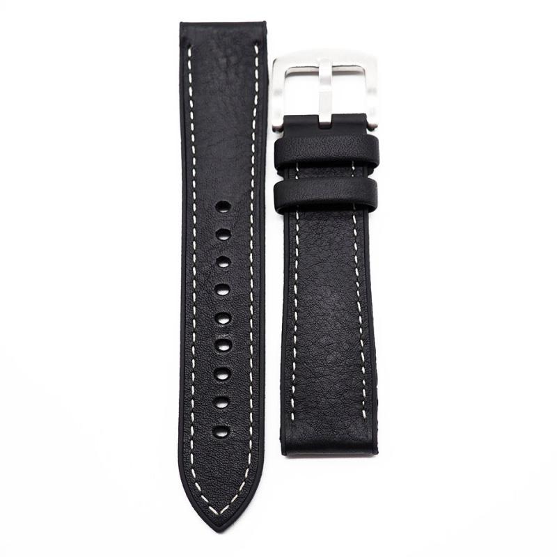20mm 黑色牛皮橡膠底運動錶帶