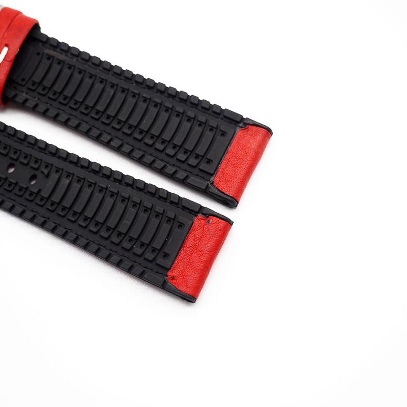 20mm 紅色牛皮橡膠底運動錶帶