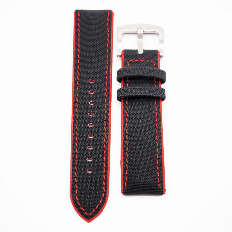 22mm 黑色尼龍紅色膠底運動錶帶