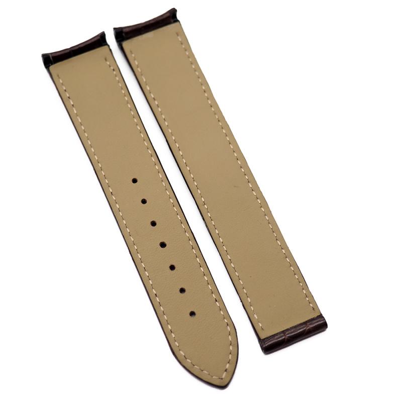20mm 光面棕色鱷魚皮 Omega 代用錶帶, 彎頭錶耳
