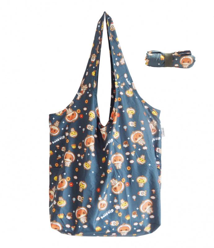 摺疊環保購物袋 貓咪癲噹遊太空 大容量收納 A08017