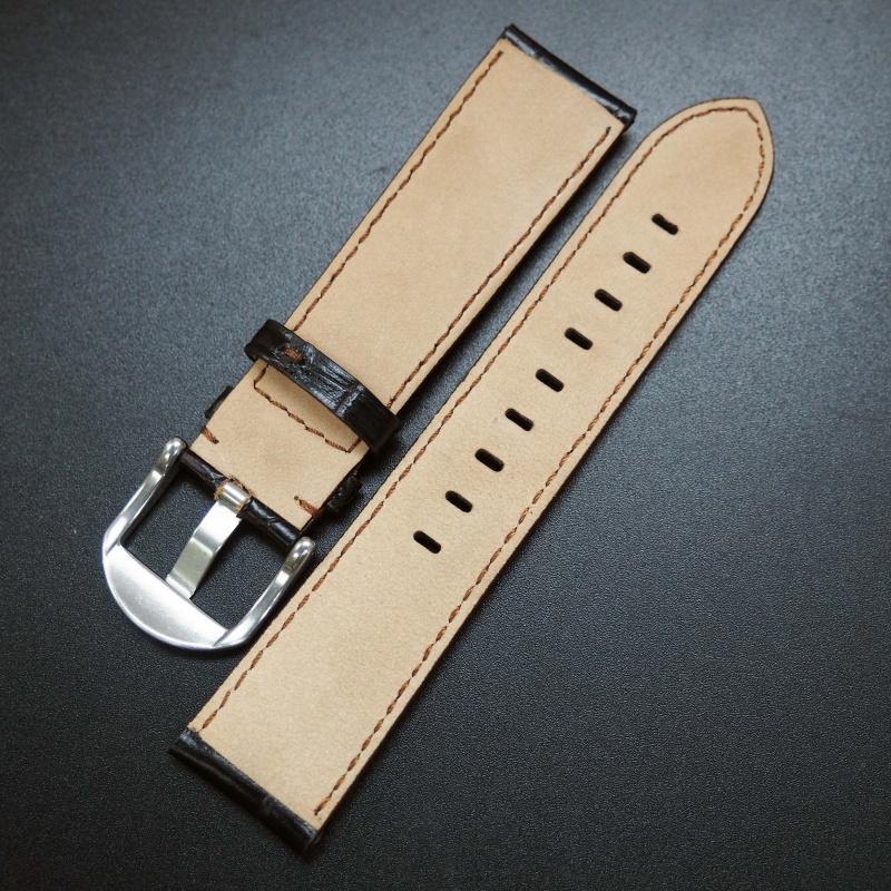 22mm 黑色鱷魚紋牛皮通用錶帶