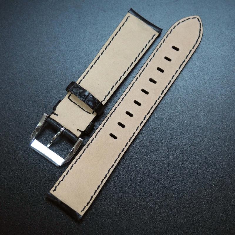 20mm 黑色鱷魚紋牛皮通用錶帶