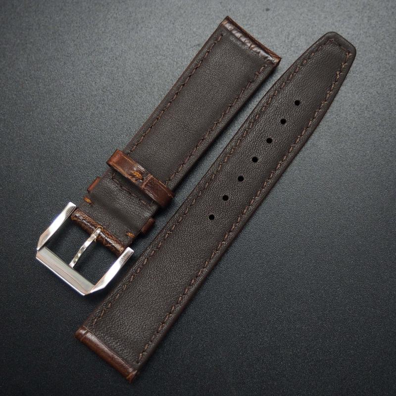 20mm IWC 啡色鱷魚紋牛皮代用錶帶