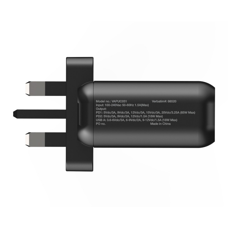 Verbatim 3 Port 65W PD 3.0 & QC 3.0 GaN USB充電器[66520]