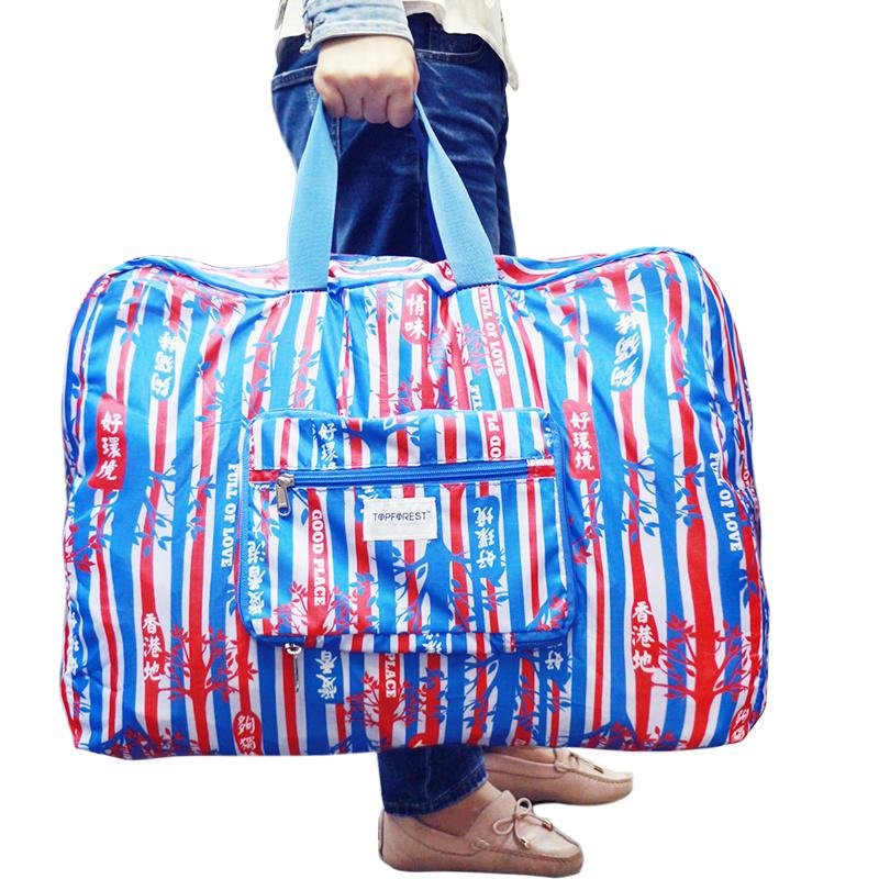 超大容量 多功能摺疊運動健身旅行袋 紅白藍樹林 可套旅行喼拉柄 A17019