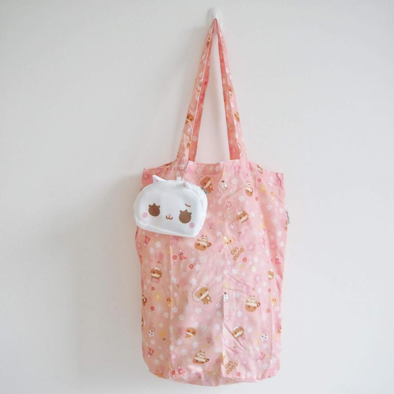 癲噹插畫白色忙忙貓頭環保摺疊收合購物袋 附鏈扣可扣手袋背包 A18019