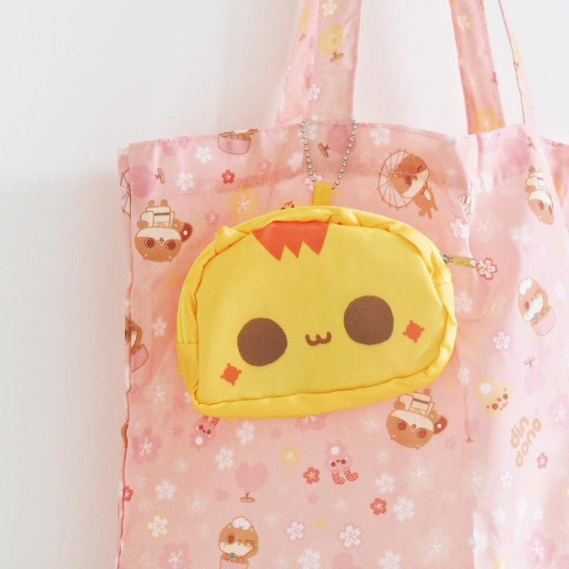 癲噹插畫黃色阿贊貓頭環保摺疊收合購物袋 一袋兩用 A18019