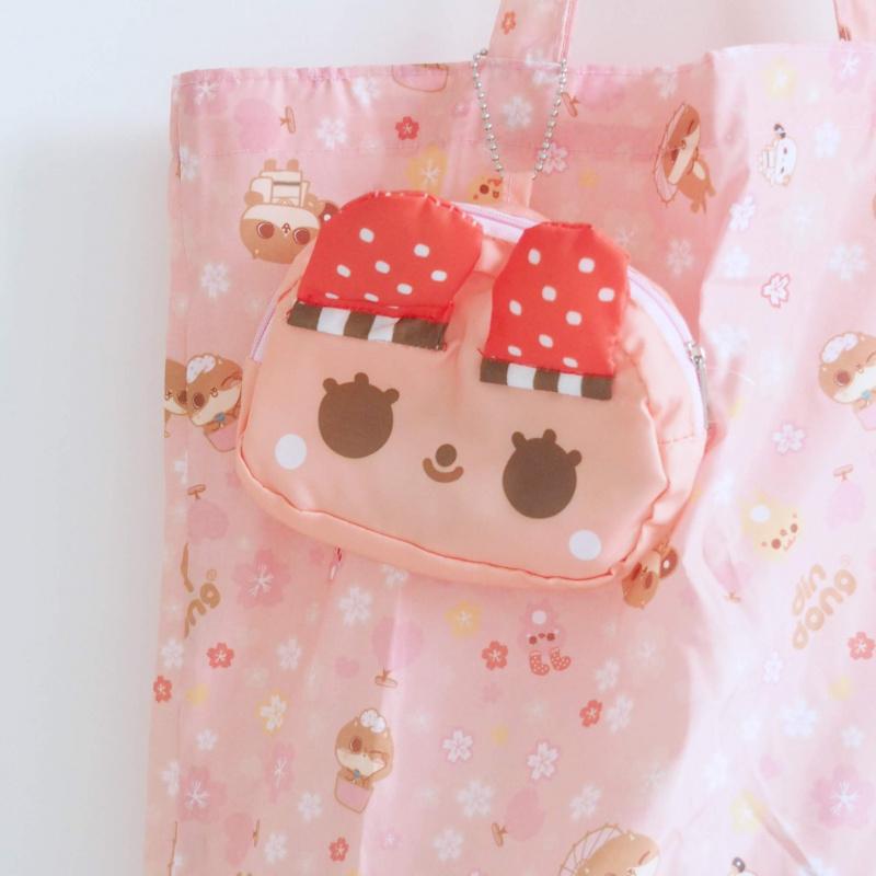 癲噹插畫粉紅小襪兔環保摺疊收合購物袋 厚身尼龍 A18019