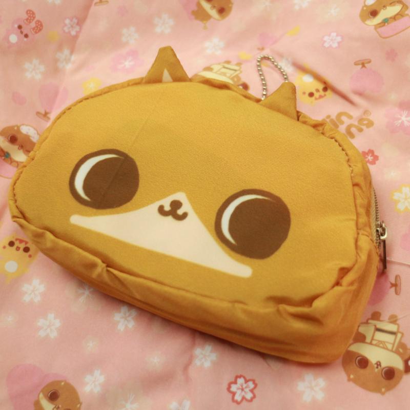 癲噹插畫咖啡色貓頭環保摺疊收合購物袋 便攜收納 A18019