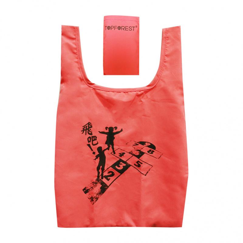 多用途珊瑚紅摺疊環保袋 懷舊跳飛機 迷你輕便外出袋 A07027