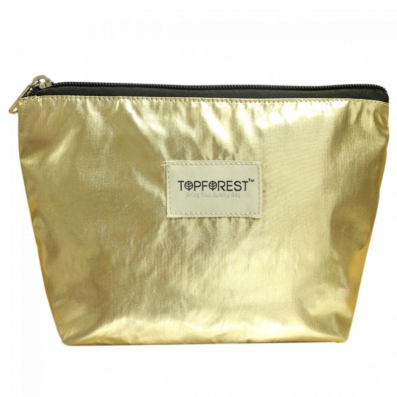 歐美流行 時尚香檳金色中號化妝袋 多用途收納 C01037