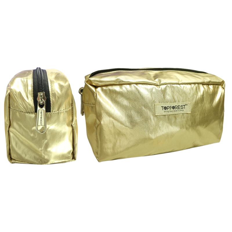 歐美流行 時尚香檳金色立體大號化妝袋 多用途收納 C02020