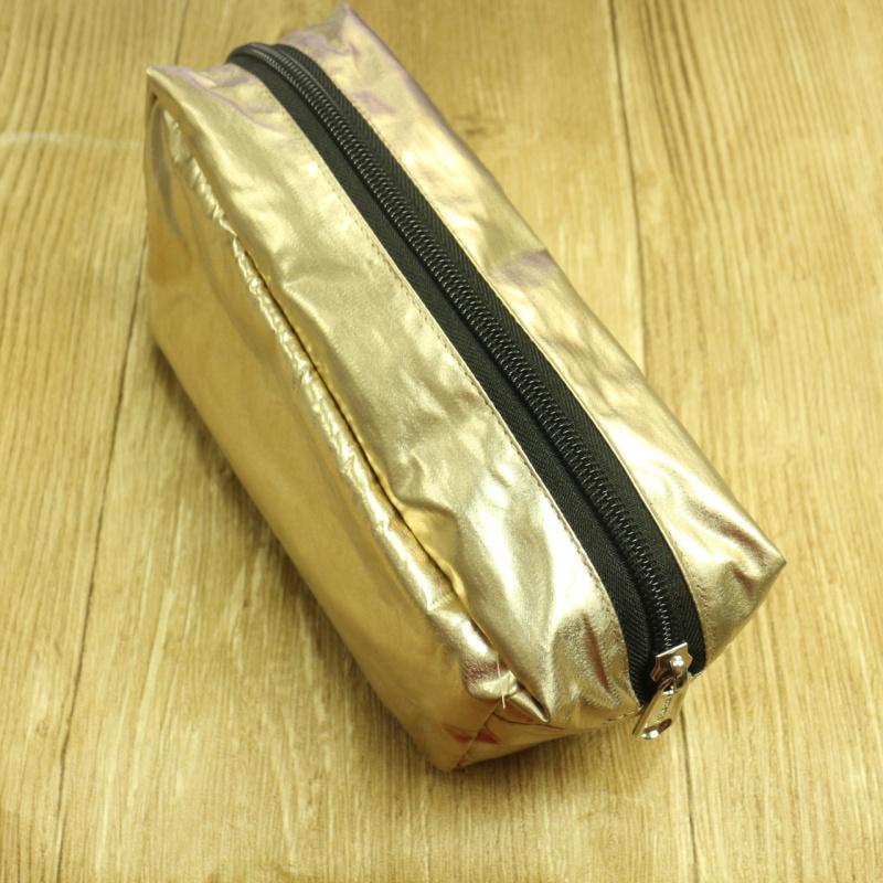 歐美流行 時尚香檳金色化妝袋套裝 一套三件 多用途收納