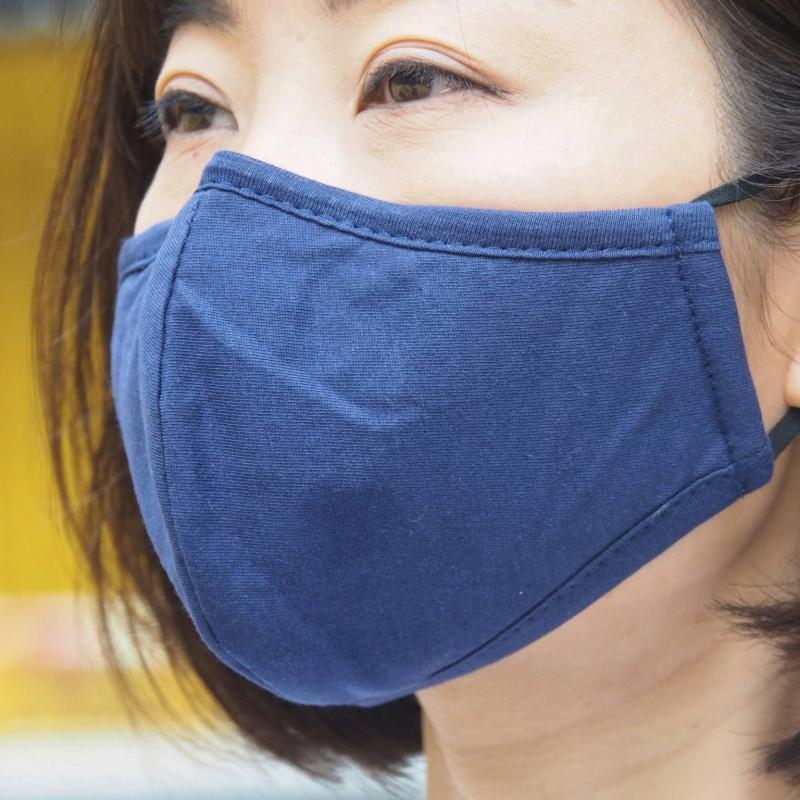 深海藍色棉布修臉口罩( 1個裝 ) 可放濾芯 可調節鼻梁掛耳 耐用重用 - 適合秋冬或冷氣室內使用 M11020