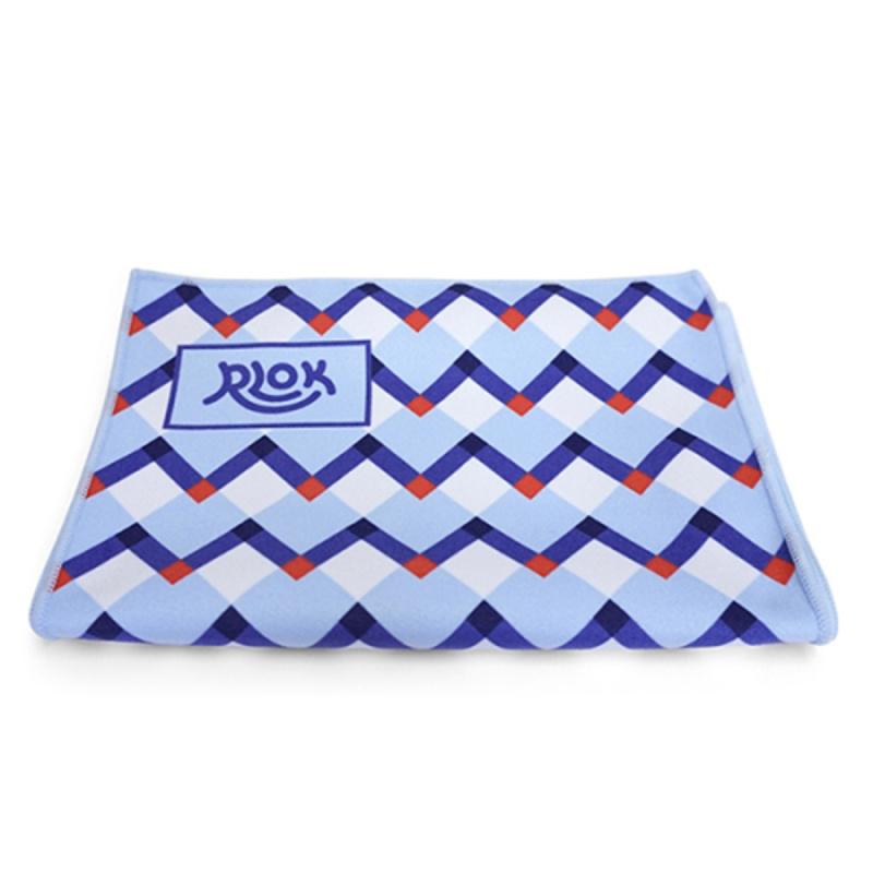 韓國製造微纖維毛巾 (100cm × 20cm) - 鋸齒藍