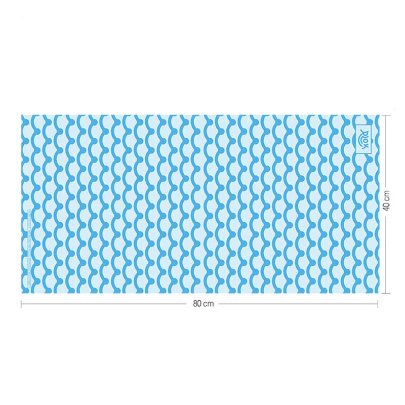 韓國製造微纖維毛巾 (80cm × 40cm) - 波浪藍