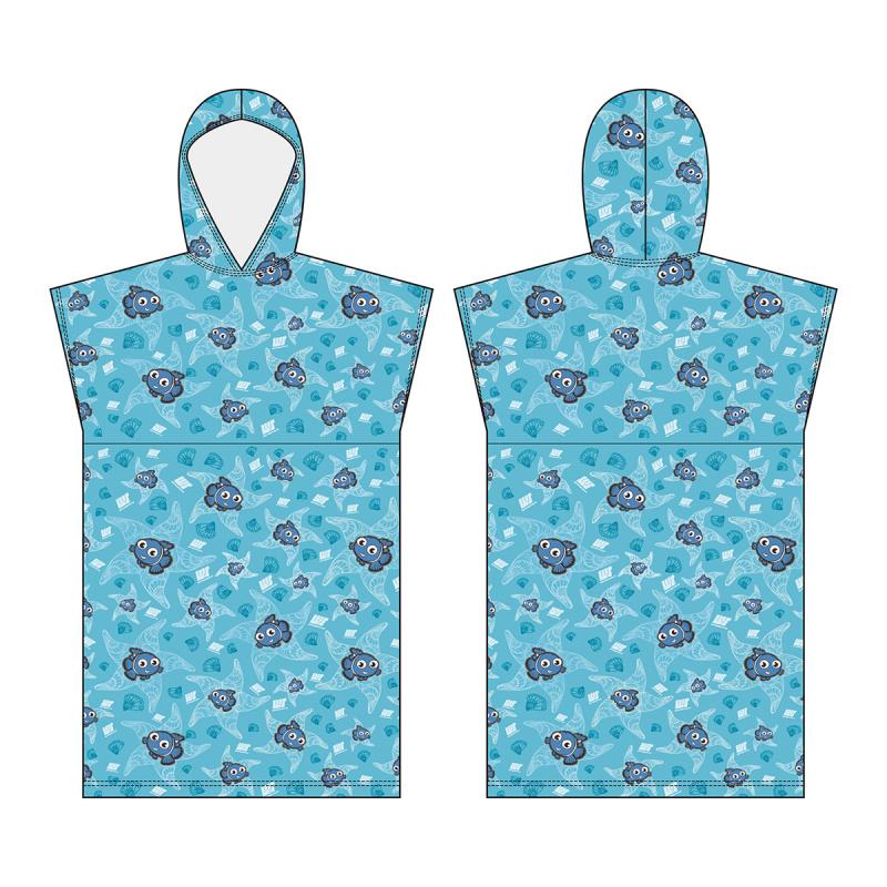 兒童披肩微纖維吸水毛巾 - 藍