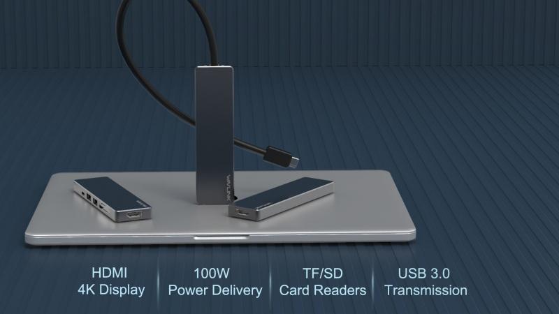 WavLink - 4K HDMI USB-C 擴充器 USB-C PD, 讀咭器, USB hub UHP3407