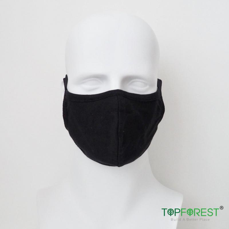 3D版型 舒適黑色棉布口罩 2個日常替換裝 可清洗重用 環保口罩 口罩套 **不內置開口** - 適合秋冬或冷氣室內使用 M02020