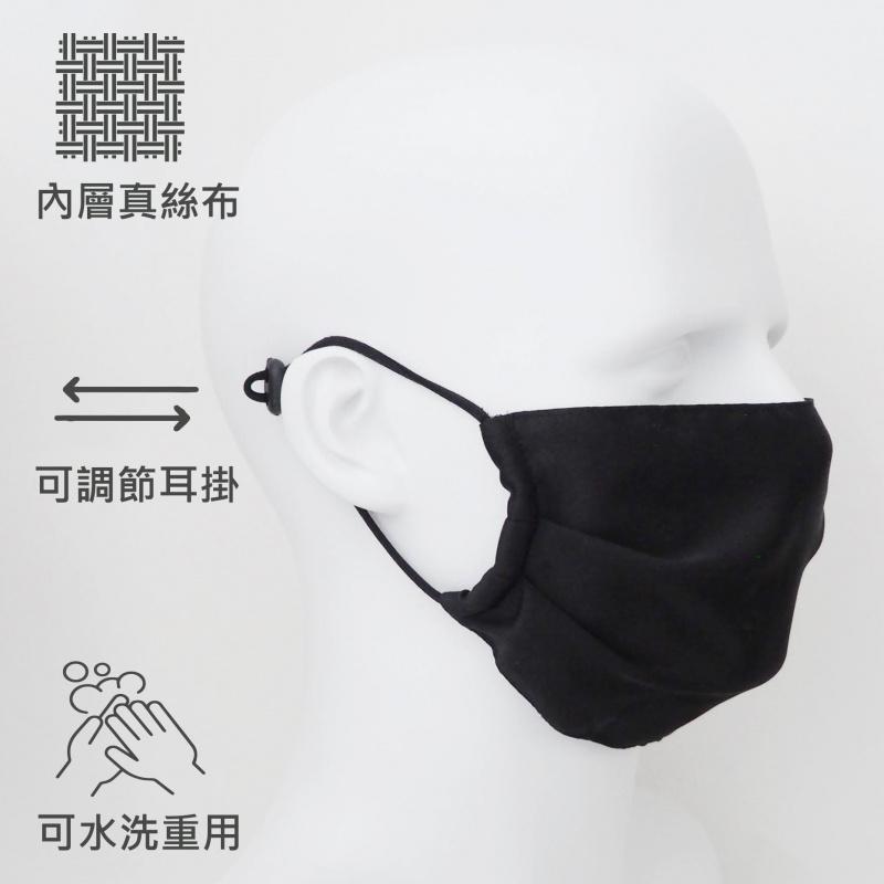 簡約時尚透氣舒爽光滑絲面布薄口罩 - 型格黑色(1個) 真絲裡布提昇膚質 M14020