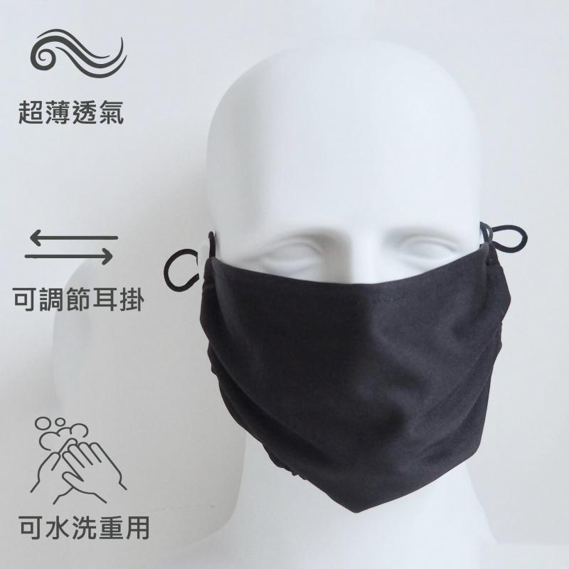 流行款清爽超薄透氣加大寛面單層防護布口罩(1個裝) 口罩套 - 簡約黑色 M15020